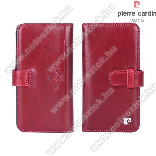 PIERRE CARDIN notesz tok / flip tok - PIROS - oldalra nyíló, rejtett mágneses záródás, 10 bankkártyatartó zseb, SIM tartó zsebekkel - APPLE iPhone 7 (4.7) / APPLE iPhone 8 (4.7)