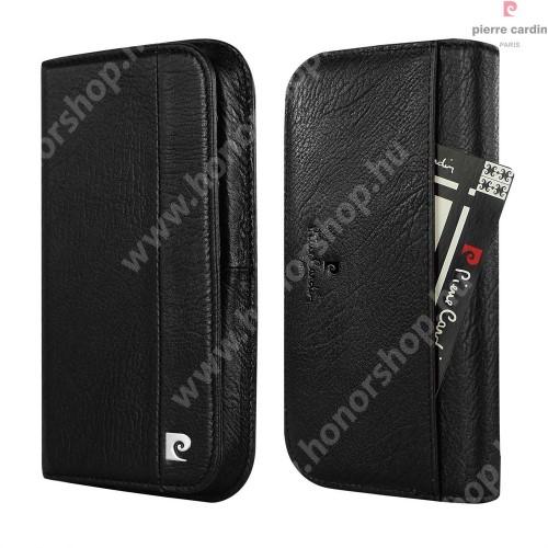 PIERRE CARDIN UNIVERZÁLIS notesz / pénztárca tok - FEKETE - extra belső zsebekkel, oldalra nyíló, valódi bőr, APPLE iPhone 7 / 6 méret