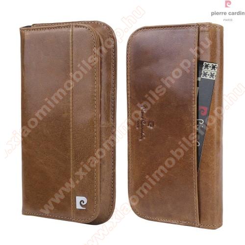 PIERRE CARDIN UNIVERZÁLIS notesz / pénztárca tok - BARNA - extra belső zsebekkel, oldalra nyíló, valódi bőr, APPLE iPhone 7 / 6 méret