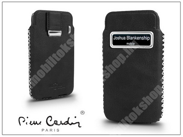 PIERRE CARDIN valódi bőrtok - APPLE iPhone 4/4S - Type-4 - fekete - PC-115 - GYÁRI