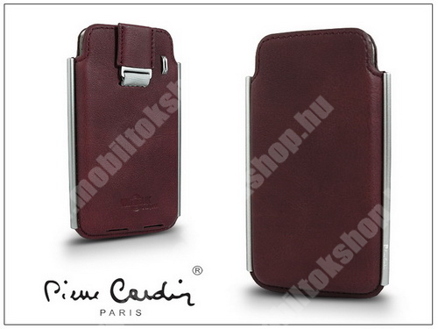 PIERRE CARDIN valódi bőrtok - APPLE iPhone 4/4S - Type-2 - bordó - PC-109 - GYÁRI