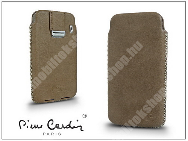 PIERRE CARDIN valódi bőrtok - APPLE iPhone 4/4S - Type-1 - beige - PC-103 - GYÁRI