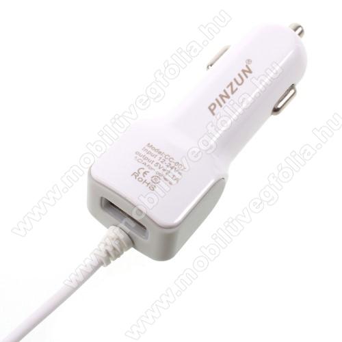 ALCATEL Smart Tab 7PINZUN szivargyújtós töltő / autós töltő - FEHÉR - microUSB, gyors töltő, 5V/2.1A, EXTRA USB aljzat - GYÁRI