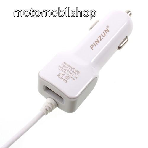 MOTOROLA Moto E4 PINZUN szivargyújtós töltő / autós töltő - FEHÉR - microUSB, gyors töltő, 5V/2.1A, EXTRA USB aljzat - GYÁRI