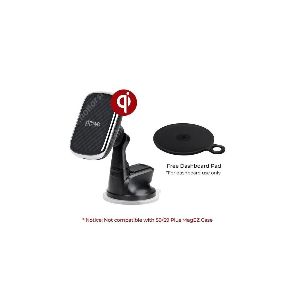 HUAWEI Honor V40 5G PITAKA New MagMount Qi mágneses gépkocsi / autós tartó - tapadókorongos, szélvédőre, műszerfalra rögzíthető, 10W vezetéknélküli töltő, fogadóegység nélkül - FEKETE - CMS3001Q - GYÁRI