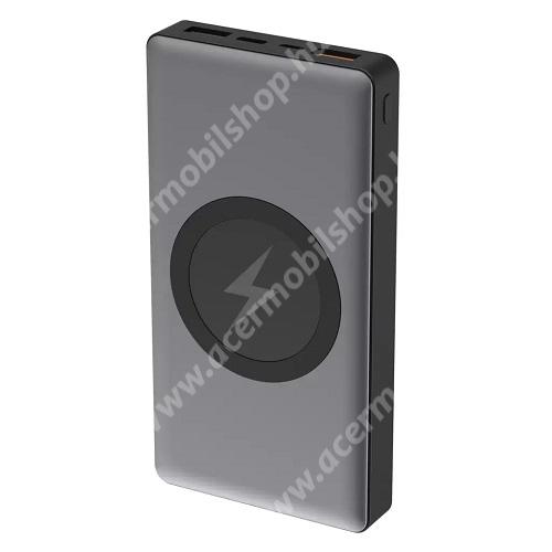 ACER Liquid Z3 PLATINET PRO hordozható töltő / power bank - QI wireless vezetéknélküli töltő funkció, 10000mAh, max 18W, 2x USB, 1x USB Type-C, Quick Charge 3.0 - PMPB10WCS - SZÜRKE - GYÁRI