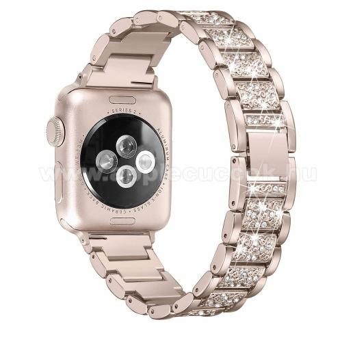 APPLE Watch Series 6 44mmPótszíj (rozsdamentes acél, speciális pillangó csat, strasszkő) ARANY - APPLE Watch Series 4 40mm / 44mm