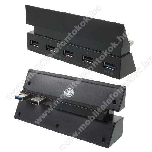 PS4-hez 5 portos USB elosztó - 1 db USB 3.0 és 4 db USB 2.0 port, Plug and Play, LED kijelzés - FEKETE