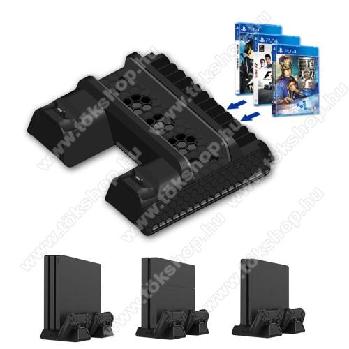 PS4/PS4 Slim/PS4 Pro konzol-hoz hűtő / állvány / kontroller töltőállomás / játék tartó - hűtőventilátor, 12 játék tárolására alkalmas, egyszerre 2 kontroller tölthet vele, 250 x 205 x 68mm - FEKETE