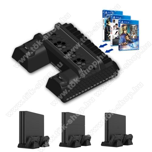 PS4/PS4 Slim/PS4 Pro konzol-hoz hűtő / állvány / kontroller törlőállomás / játék tartó - hűtőventilátor, 12 játék tárolására alkalmas, egyszerre 2 kontroller tölthet vele, 250 x 205 x 68mm - FEKETE