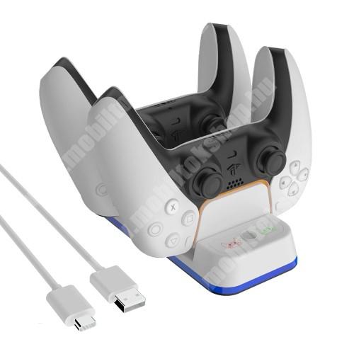 PS5 kontrollertöltő állomás / dokkoló - egyszerre 2 kontroller is tölthető vele, csúszásgátló, LED töltésjelző - FEHÉR