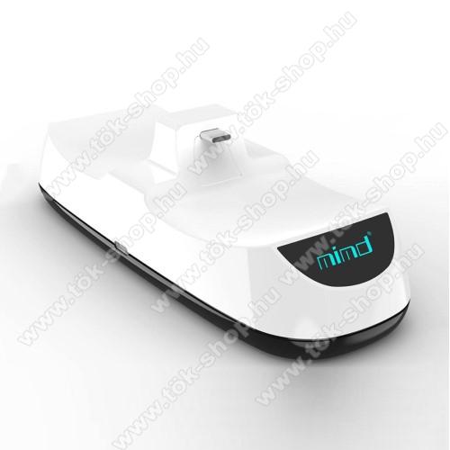 PS5 kontrollertöltő állomás / dokkoló - egyszerre 2 kontroller is tölthető vele, csúszásgátló - FEHÉR