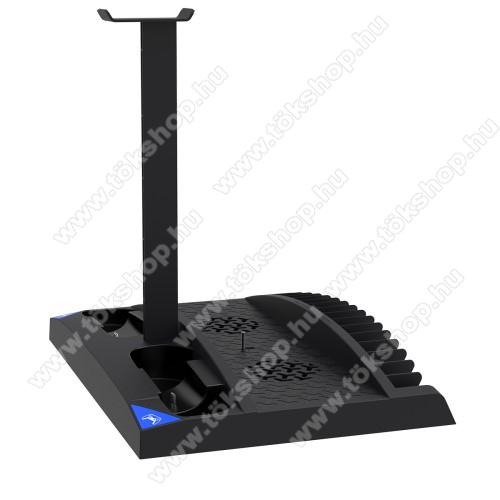 PS5 konzol-hoz hűtő / állvány / kontroller töltőállomás / játék tartó / fejhallgató tartó - kettős hűtőventilátor, 17 játék tárolására alkalmas, egyszerre 2 kontroller tölthet vele, töltésjelző - FEKETE