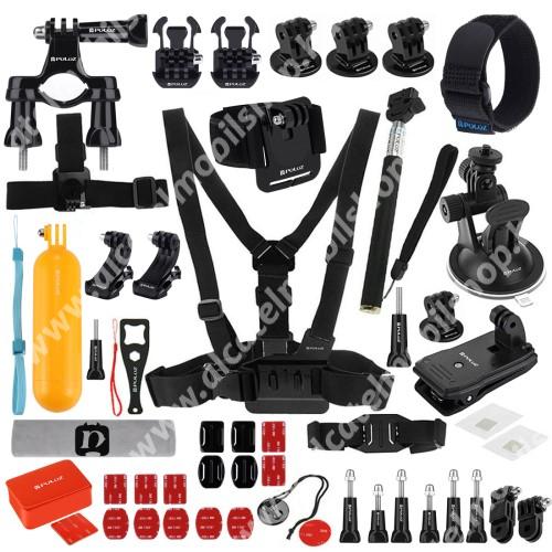 PULUZ 53 az 1-ben GoPro HERO 4/3+/3/2/1/SJ4000/SJ5000 szett - 2x hosszú 2x rövid csavar, 1 x kormányrögzítő, 1x tapadókorongos tartó, 1x csuklópánt, 1x mellkaspánt stb - FEKETE