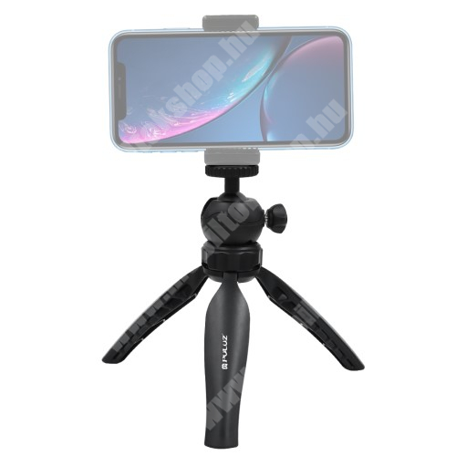 """Elephone P9 Water PULUZ Mini TRIPOD állvány - 1/4""""-os rögzítő univerzális csavarral, 360 fokban forgatható, CSAK AZ ÁLLVÁNY TARTOZÉK - FEKETE"""