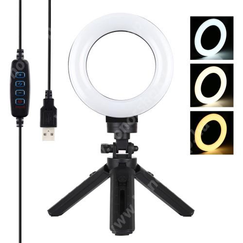 HUAWEI Honor V40 5G PULUZ MINI UNIVERZÁLIS 12cmes LED körfény tripod állvány - állítható színhőmérséklet 3200K-6500K, 360°-ban forgatható, állítható állvány, 14.5cm magas tripod állvány - FEKETE