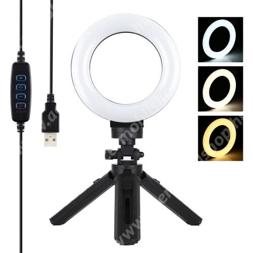 PULUZ MINI UNIVERZÁLIS 12cmes LED körfény tripod állvány - állítható színhőmérséklet 3200K-6500K, 360°-ban forgatható, állítható állvány, 14.5cm magas tripod állvány - FEKETE