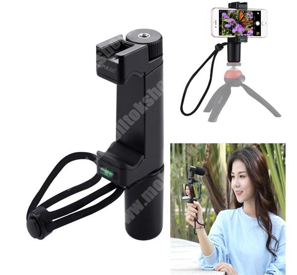"""Elephone P3000 PULUZ PU366 szelfibot adapter - univerzális, tripod állványra rögzíthető, Vlogging Live Broadcast, 57-100mm-ig állítható telefon bölcső, 6.4"""" méretig - FEKETE"""