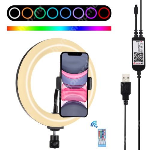 """HUAWEI Honor V40 5G PULUZ UNIVERZÁLIS telefon tartó / RGBW LED körfény - állítható szín, 11W, távirányítóval, 60-85mm-ig nyíló bölcső, letöltehető alkalmazás, 360°-ban forgatható, 1/4"""" univerzális csavar, AZ ÁLLVÁNY NEM TARTOZÉK! - FEKETE"""