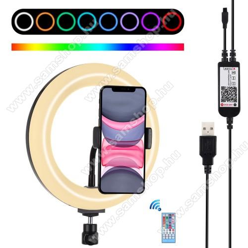 PULUZ UNIVERZÁLIS telefon tartó / RGBW LED körfény - állítható szín, 11W, távirányítóval, 60-85mm-ig nyíló bölcső, letöltehető alkalmazás, 360°-ban forgatható, 1/4