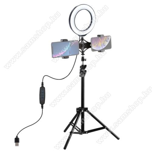PULUZ UNIVERZÁLIS telefon tartó tripod állvány - LED körfény, állítható színhőmérséklet, 5V / 7-14W,  360°-ban forgatható, egyszerre két telefonnal is használható, 1/4