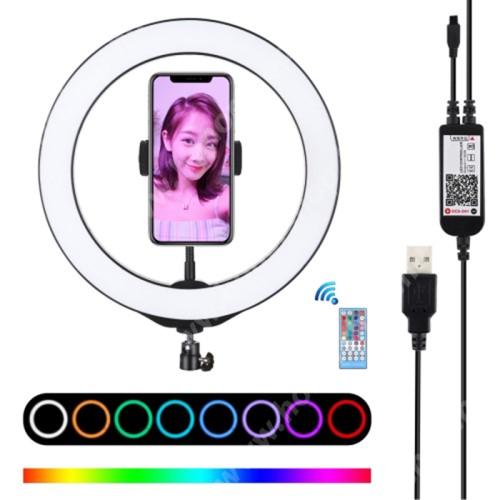 """PULUZ UNIVERZÁLIS telefon tartó tripod állvány - RGBW LED körfény, állítható szín, 12W, távirányítóval, zenére világít, letöltehető alkalmazás, 360°-ban forgatható, 1/4"""" univerzális csavar - FEKETE"""