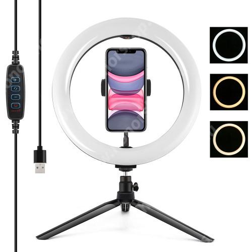 HUAWEI Honor V40 5G PULUZ UNIVERZÁLIS telefon tartó tripod állvány - LED körfény, állítható színhőmérséklet 3200K-6500K, 360°-ban forgatható, 60-85mm-ig nyíló bölcső, állítható állvány - FEKETE