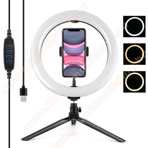 PULUZ UNIVERZÁLIS telefon tartó tripod állvány - LED körfény, állítható színhőmérséklet 3200K-6500K, 360°-ban forgatható, 60-85mm-ig nyíló bölcső, állítható állvány - FEKETE
