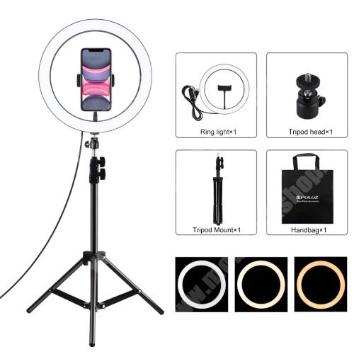"""PULUZ UNIVERZÁLIS telefon tartó tripod állvány / körfény - 30cm LED körfény, állítható színhőmérséklet / fényerő, 360°-ban forgatható, univerzális 1/4""""-es csatlakozó, állítható magasság 49.5cm-ről 110cm-re, 3200K-6500K, 60-85 mm-ig nyíló bölcső - FEKETE"""