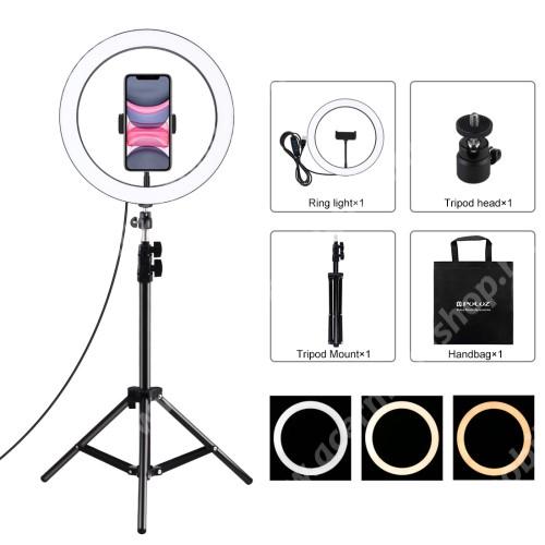 """ACER Iconia Tab 8 A1-840FHD PULUZ UNIVERZÁLIS telefon tartó tripod állvány / körfény - 30cm LED körfény, állítható színhőmérséklet / fényerő, 360°-ban forgatható, univerzális 1/4""""-es csatlakozó, állítható magasság 49.5cm-ről 110cm-re, 3200K-6500K, 60-85 mm-ig nyíló bölcső - FEKETE"""