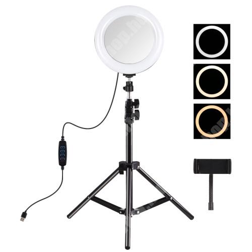 """HomTom H17 Pro PULUZ UNIVERZÁLIS telefon tartó tripod állvány / körfény - 20cm LED körfény, összecsukható, állítható színhőmérséklet / fényerő, 360°-ban forgatható, univerzális 1/4""""-es csatlakozó, állítható magasság 49.5cm-ről 110cm-re, 3200K-6500K, 60-85 mm-ig nyíló bö"""