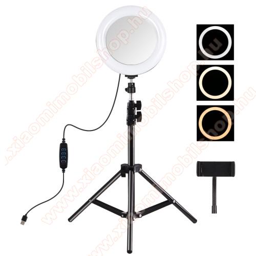 PULUZ UNIVERZÁLIS telefon tartó tripod állvány / körfény - 20cm LED körfény, összecsukható, állítható színhőmérséklet / fényerő, 360°-ban forgatható, univerzális 1/4