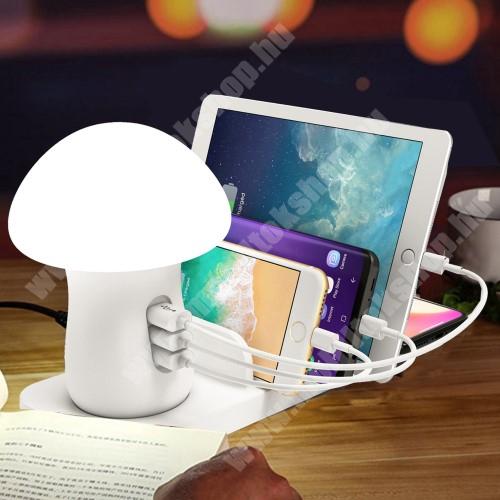 PRESTIGIO MultiPhone 5300 Duo QI hálózati töltő állomás vezeték nélküli töltéshez / Asztali töltő állomás, dokkoló (max 40W) - LED éjszakai fény, QI kimenet 10W, fogadóegység nélkül!, 1x USB QC3.0 port 5V/3A, 9V/1,.8A, 12V/1.5A, 1x 5V/2.1A, 1x 5V/1A, gyorstöltés támogatás - FEHÉR