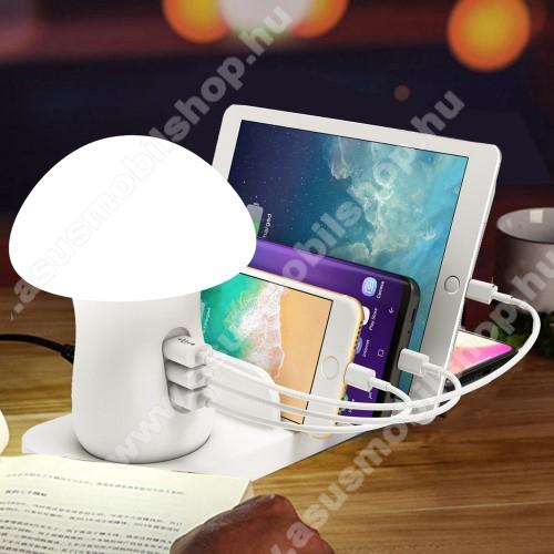 QI hálózati töltő állomás vezeték nélküli töltéshez / Asztali töltő állomás, dokkoló (max 40W) - LED éjszakai fény, QI kimenet 10W, fogadóegység nélkül!, 1x USB QC3.0 port 5V/3A, 9V/1,.8A, 12V/1.5A, 1x 5V/2.1A, 1x 5V/1A, gyorstöltés támogatás - FEHÉR