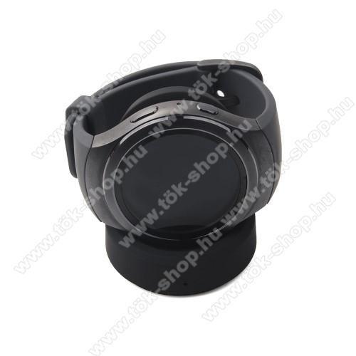 QI Wireless asztali töltő állvány - FEKETE - SAMSUNG Gear S3 Frontier / S3 Classic / SAMSUNG SM-R600 Galaxy Gear Sport