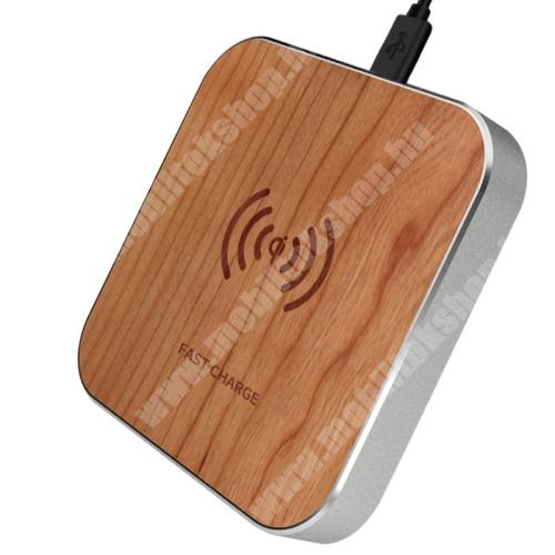 LG G4c (H525N) QI Wireless hálózati töltő állomás vezeték nélküli töltéshez - FA EREZETT MINTÁS - fogadóegység nélkül!, gyorstöltés támogatás, 15W(max!) - BARNA