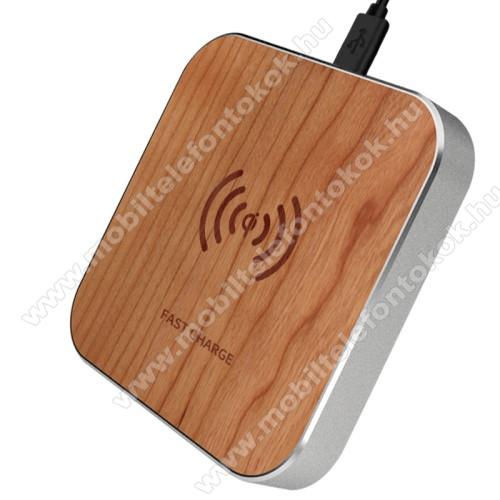 QI Wireless hálózati töltő állomás vezeték nélküli töltéshez - FA EREZETT MINTÁS - fogadóegység nélkül!, gyorstöltés támogatás, 15W(max!) - BARNA