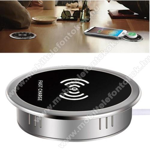 QI Wireless hálózati töltő állomás vezeték nélküli töltéshez - asztalba süllyeszthető, vízálló, gyorstöltés támogatás, 15W(max!), fogadóegység nélkül! - FEKETE