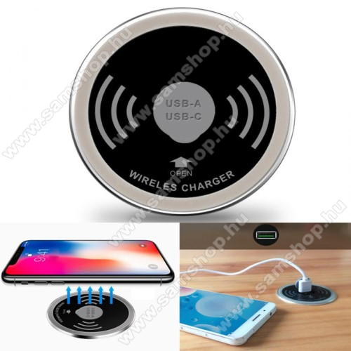 QI Wireless hálózati töltő állomás vezeték nélküli töltéshez / Asztai töltő - EXTRA 2x USB aljzat, USB 5V/2.4A, Type-C 5V/3A, asztalba süllyeszthető 60mm széles, gyorstöltés támogatás, 15W(max!), fogadóegység nélkül! - FEKETE