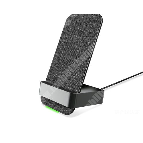 LG G4c (H525N) QI Wireless hálózati töltő állomás vezeték nélküli töltéshez - 2 TEKERCSES!, állítva és fektetve is támogatja a töltést, 15W, dönthető, csúszásgátló, szövettel bevont, fogadóegység nélkül! - FEKETE