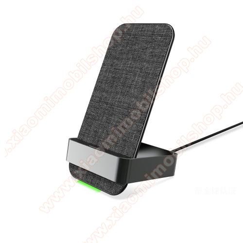 QI Wireless hálózati töltő állomás vezeték nélküli töltéshez - 2 TEKERCSES!, állítva és fektetve is támogatja a töltést, 15W, dönthető, csúszásgátló, szövettel bevont, fogadóegység nélkül! - FEKETE