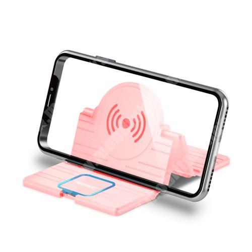 LG G4c (H525N) QI Wireless hálózati töltő állomás vezeték nélküli töltéshez - fogadóegység nélkül!, összecsukható, Type-C port, gyorstöltés támogatás, 15W(max!) - RÓZSASZÍN