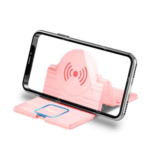 QI Wireless hálózati töltő állomás vezeték nélküli töltéshez - fogadóegység nélkül!, összecsukható, Type-C port, gyorstöltés támogatás, 15W(max!) - RÓZSASZÍN