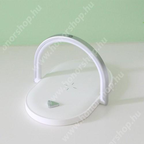 HUAWEI Honor V40 5G QI Wireless hálózati töltő állomás vezeték nélküli töltéshez / éjszaki lámpa, hangulatvilágítás - 15W, LED lámpa, összecsukható, állítható színhőmérséklet, érintéssel kapcsolható, fogadóegység nélkül! - FEHÉR
