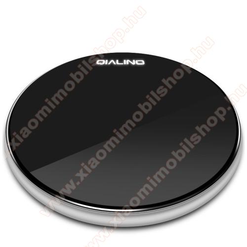 QIALINO 15W QI Wireless hálózati töltő állomás vezeték nélküli töltéshez - 15W, ULTRAVÉKONY 7mm, FOD funkció, LED jelzőfény, gyorstöltés támogatás, fogadóegység NÉLKÜL! - FEKETE - GYÁRI