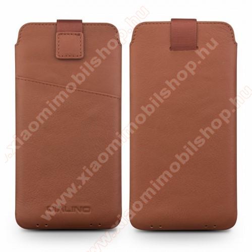 Xiaomi MI Note ProQIALINO álló tok - kihúzó pánt, mágneses záródás, valódi bőr - BARNA - 160 x 80 mm