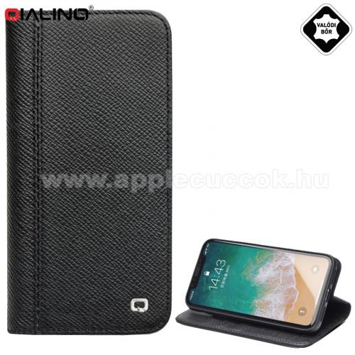 QIALINO notesz tok, valódi bőr (aktív flip, oldalra nyíló, asztali tartó funkció, kivehetõ szilikon telefonvédő) FEKETE - Apple iPhone X 5.8, Apple iPhone XS 5.8 - GYÁRI