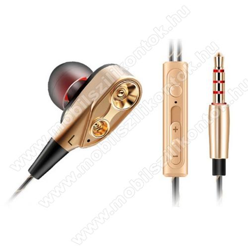 QKZ fülhallgató SZTEREO (3.5mm jack, mikrofon, felvevő gomb, 2 pár fülgumi, mélyhang kiemelő, dupla hangszóró) ROZÉARANY - CK8_G - GYÁRI
