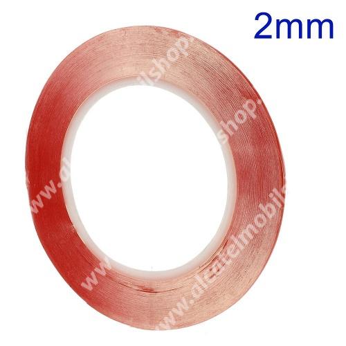 Ragasztó szalag, kétoldalas, plexi ablakhoz/érintőpanelhez (260°C hőálló, 2 mm széles, 33 m hosszú)
