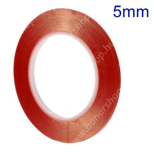Ragasztó szalag, kétoldalas, plexi ablakhoz/érintőpanelhez (260°C hőálló, 5 mm széles, 33 m hosszú)